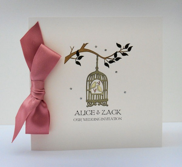 Wedding Invitations Birdcage: Contemporary Birdcage Wedding Invite With Dusky Pink Bow