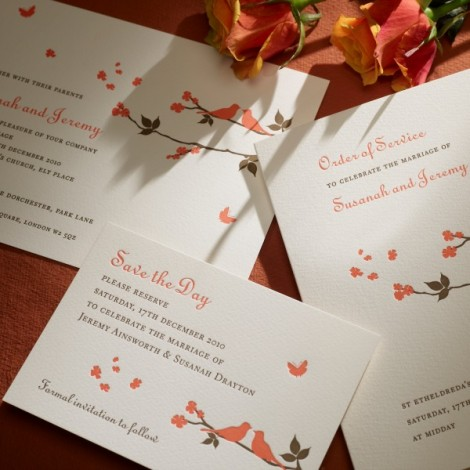 Brown and Orange Letter Press Wedding Invite