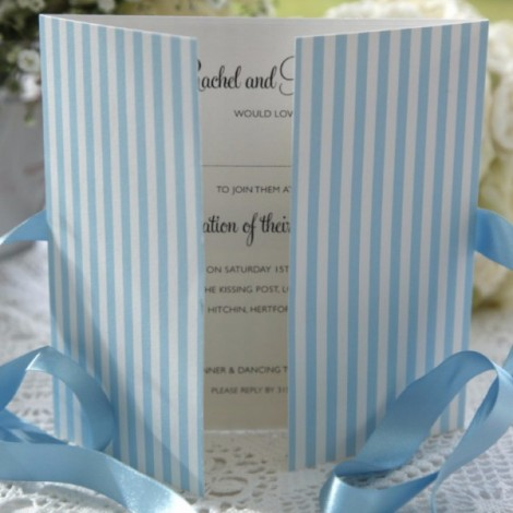 Duck Egg Blue Striped Wedding Invitation