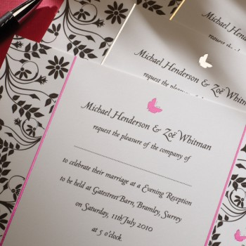 Pink Foil Butterfly Wedding Invitation