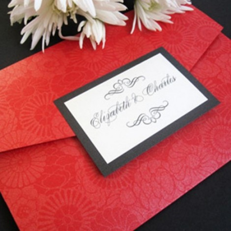 Pocketfold Wedding Invitation in Red and Black