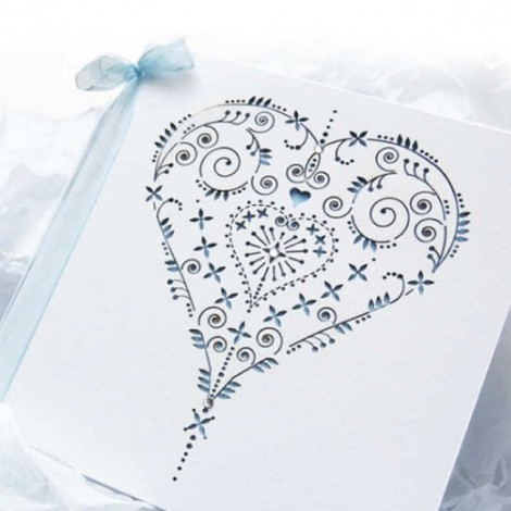 Laser Cut Wedding Invitation Heart with Blue Bow
