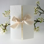 Gatefold Wedding Invitation with Cream Bow