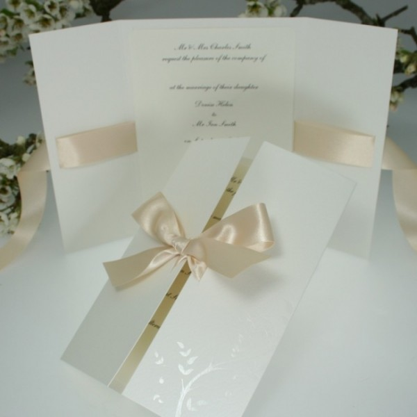 Cream Ribbon Gatefold Wedding Invitation