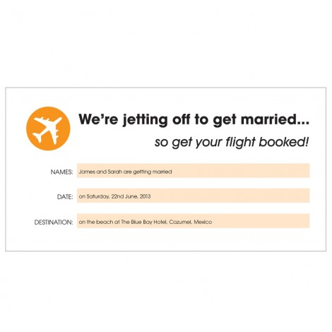 Airline Ticket Style Wedding Invitation in Orange