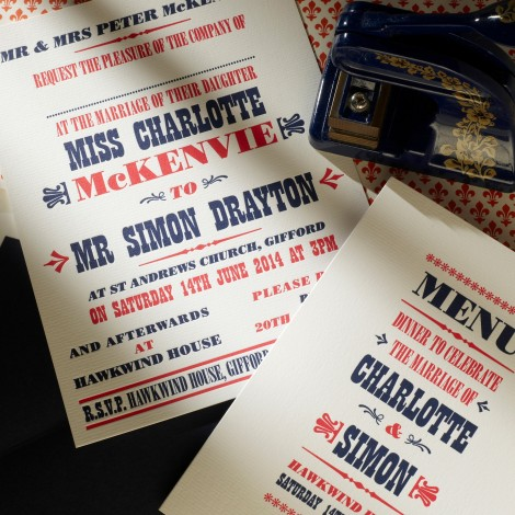 Letter Press Blue and Red Billboard Wedding Invitation