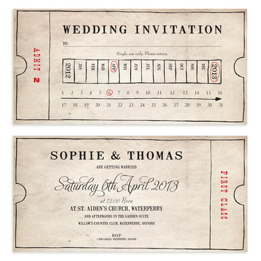 Old Fashioned Bus Ticket Wedding Invitation