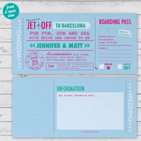 Personalised Travel Ticket Wedding Invitation
