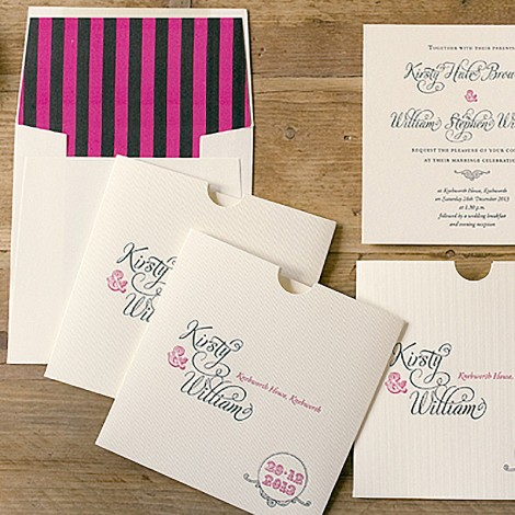 Rosa Hot Pink and Black Wedding Invite