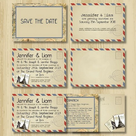 Vintage Airmail Letter Wedding Invitation