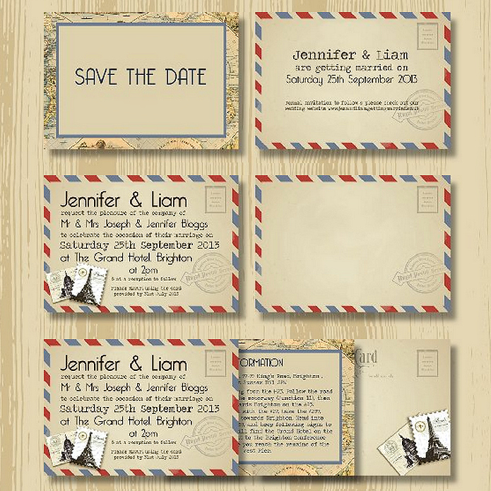 Letter Vintage Wedding Invitation