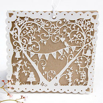Vintage Garden Party Laser Cut Kraft Wedding Invitation
