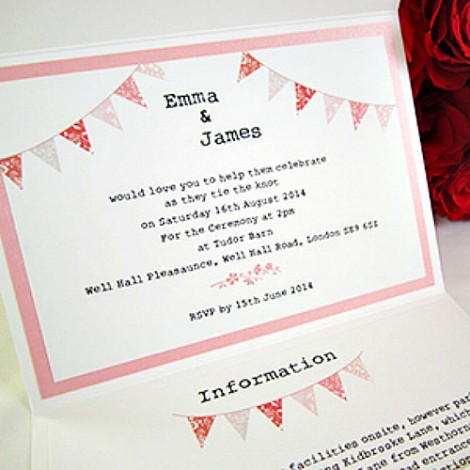 Portobello summer fayre pocketfold Wedding Invitation