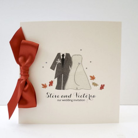 Autumn Leaves Wedding Invitation with a Rust Brown Bow