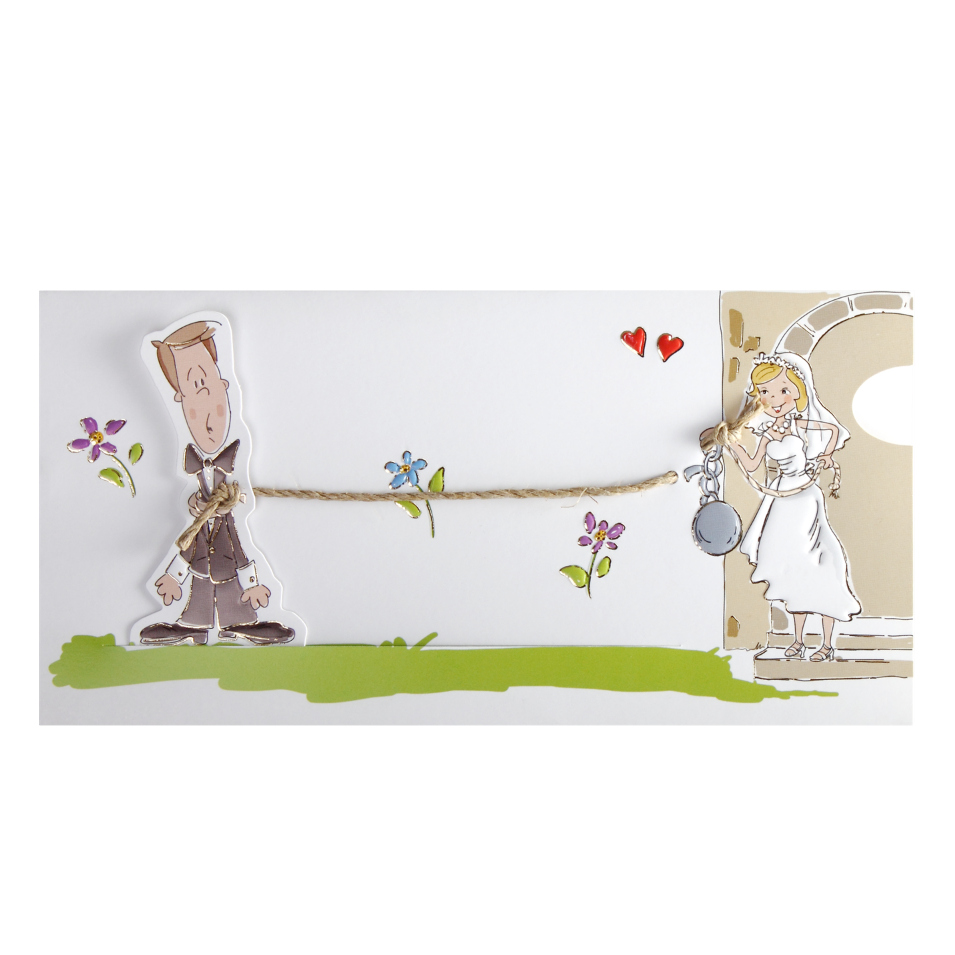 Cheeky And Funny Ball And Chain Wedding Invitation