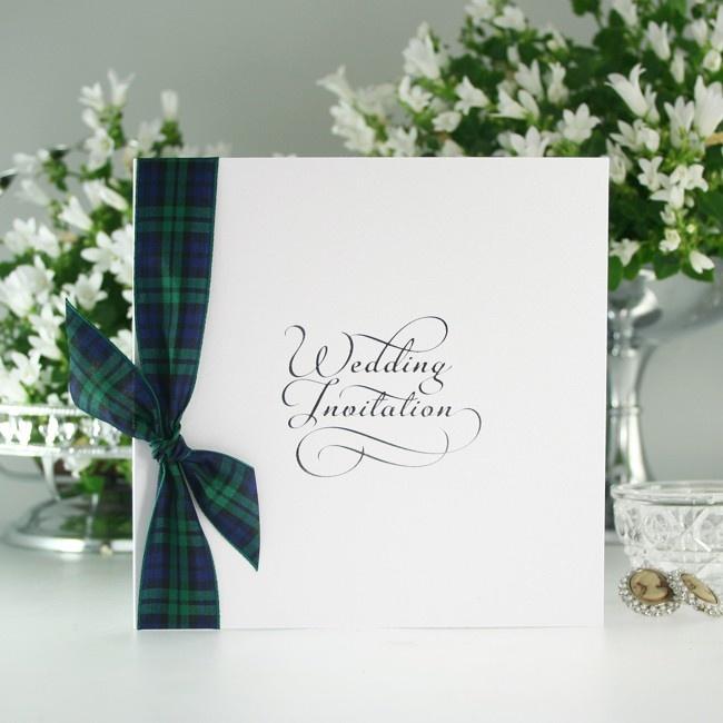 Black Watch Tartan Wedding Invite with Ribbon