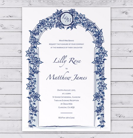 Blue Clematis Floral Arch Wedding Invitation