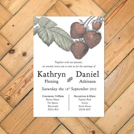Botanical Stawberry Wedding Invitation