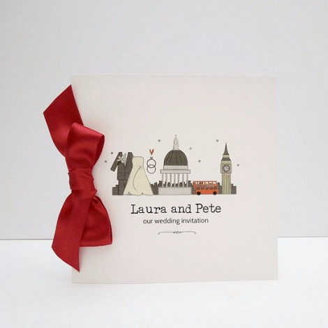 I love London Red Bow Wedding Invitation