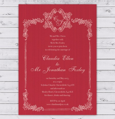 Red Fancy Floral Border Wedding Invitation