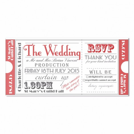 Red Theatre Style Ticket Invitation