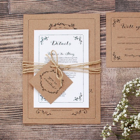Rustic Kraft Wedding Invitation with Leaf Border