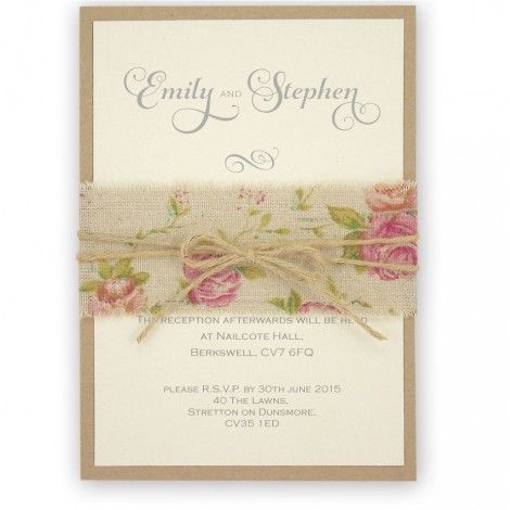 Shabby Chic Rose Twine Wrapped Wedding Invitation
