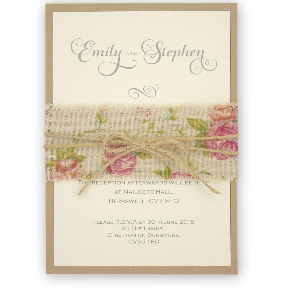 Shabby Chic Rose Wedding Invitation with Burlap and Twine Belly Band