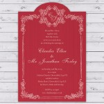 Vintage Parisan Wedding Invitation Vermillion Red