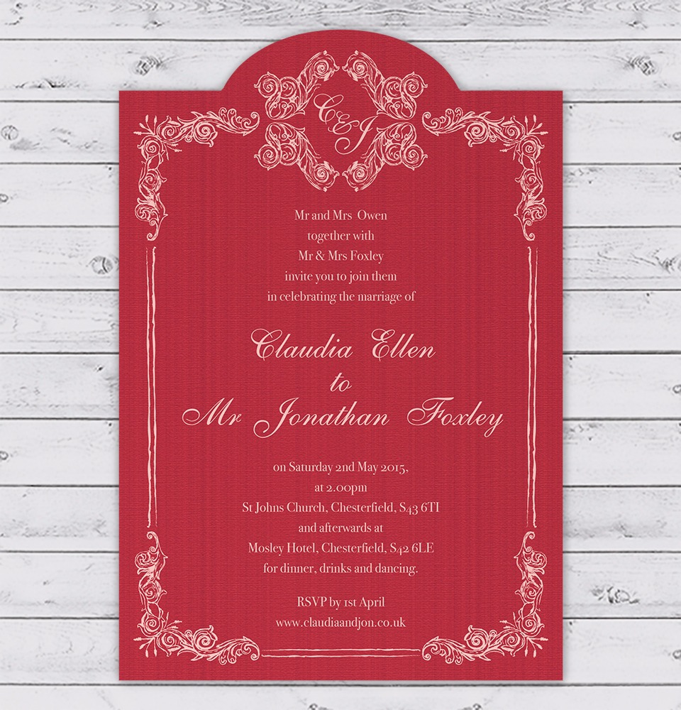 Parisian Fancy Border Wedding Invitation in Vermillion Red