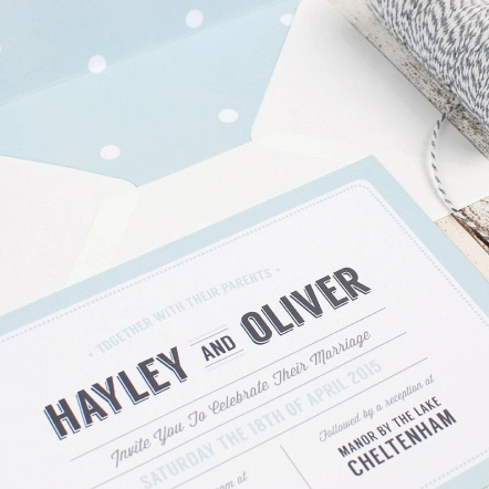 Vintage Typography Wedding Invitation in Duck Egg Blue