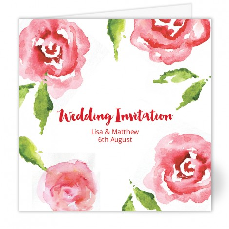 Watercolour Roses Wedding Invite Folded