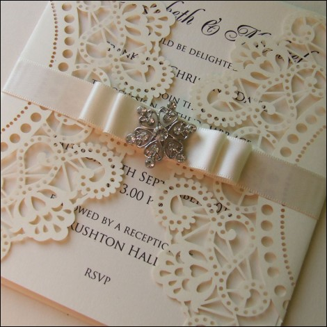 cream lace effect lasercut wedding invitation