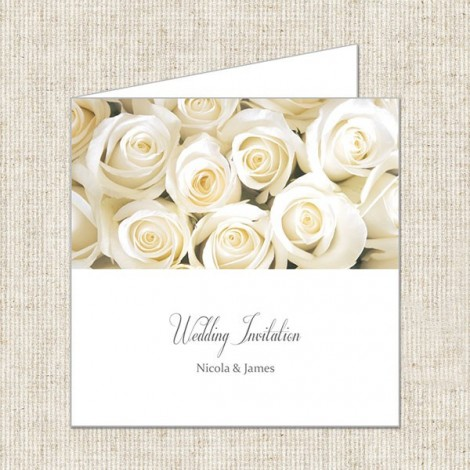 Cluster of Cream Roses Wedding Invite