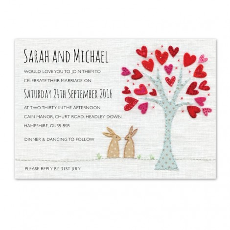 Cute Hand Stitched Look Wedding Invitation