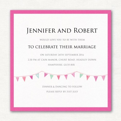 Fuchsia Pink Wedding Invite with bunting