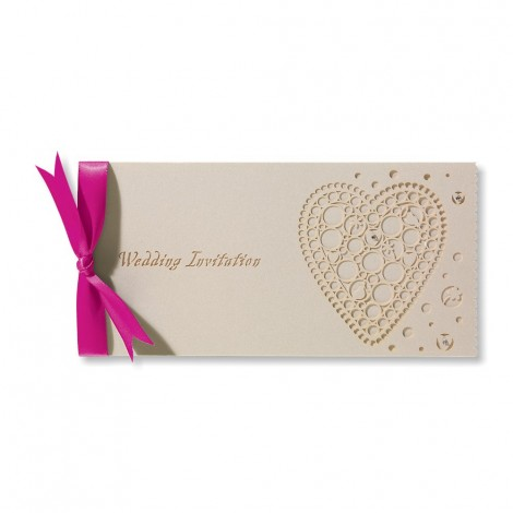 Laser Cut Heart Wedding Invitation with Fuchsia Pink Bow