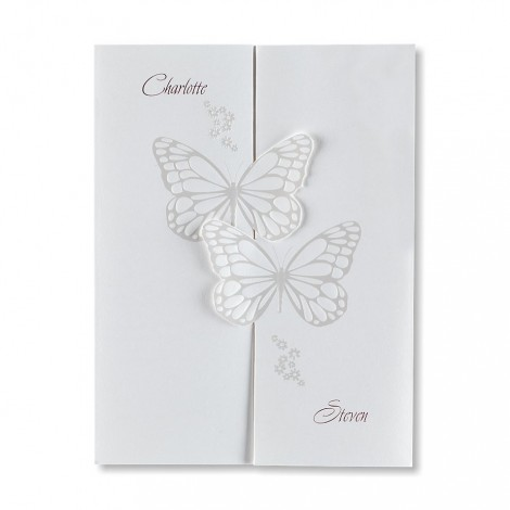 Personalised Interlocking Butterflies Wedding Invitation