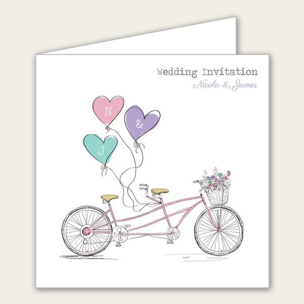 Pastel Tandem Wedding Invitation From Tree Of Hearts