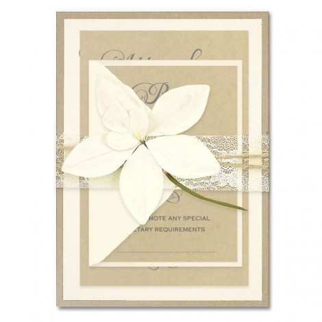 Angel Orchid Lace Parcel Wedding Invitation