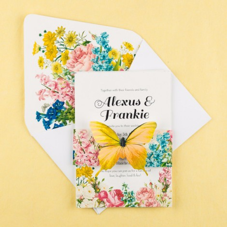 Blooms Butterfly Wedding Invitation