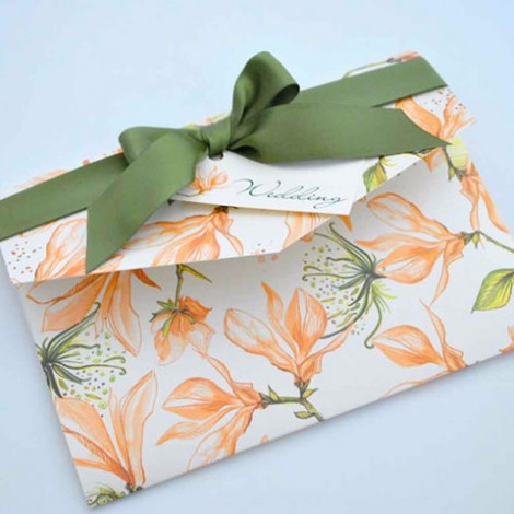 Floral Pocketfold Wedding Invite