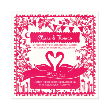 Paper Cut(e) Shocking Pink Swans Wedding Invitation