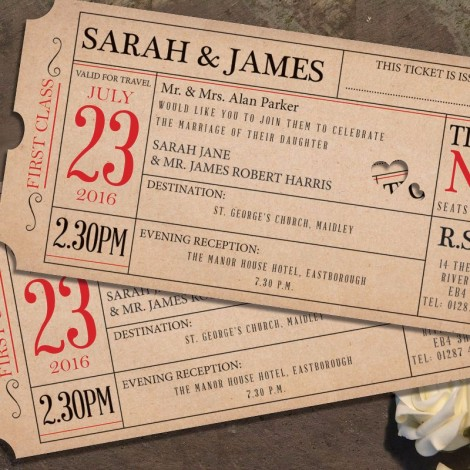 Ticket to Love Wedding Invitation