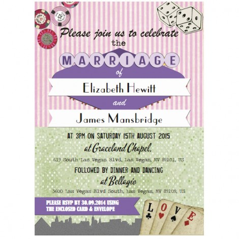 Vintage Vegas Wedding Invitation