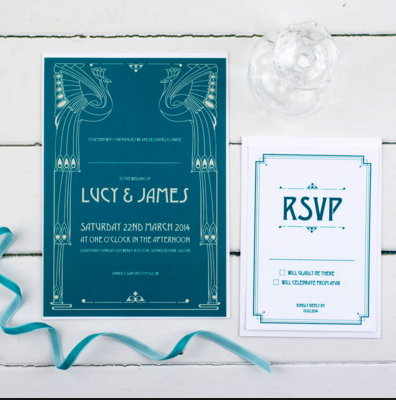 Art Deco Wedding Invite