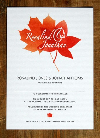 Autumn Leaves Wedding Invite