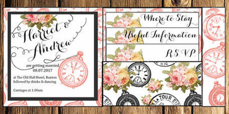 Clock Wedding Invite