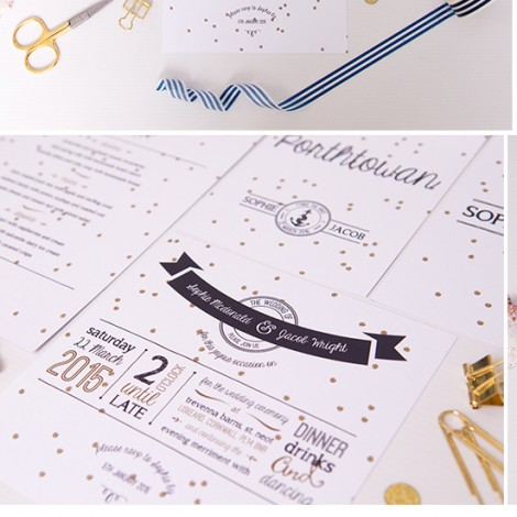 Dotty Nautical Wedding Invite