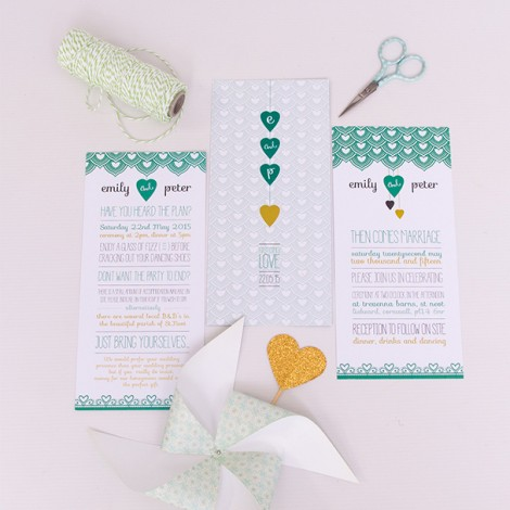 First Comes Love Wedding Invite